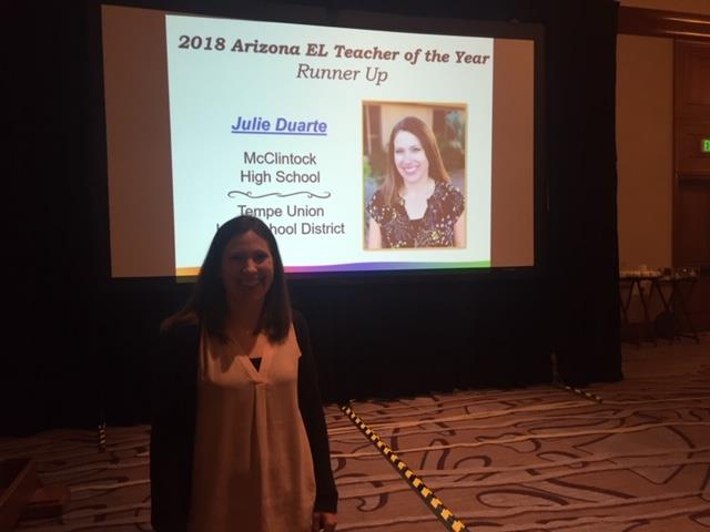 McClintock High School's Julie Duarte was named the 2018 Runner-Up Arizona EL Teacher of the Year.