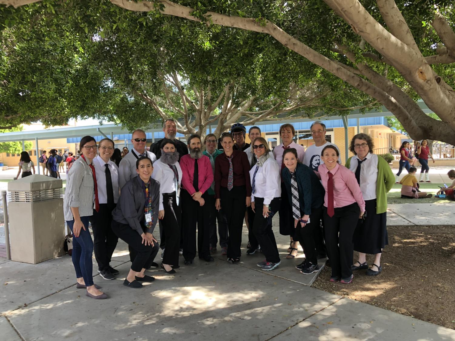 Over a dozen teachers at McClintock dressed as math teachers Mr. Barkdoll for Twin Day.
