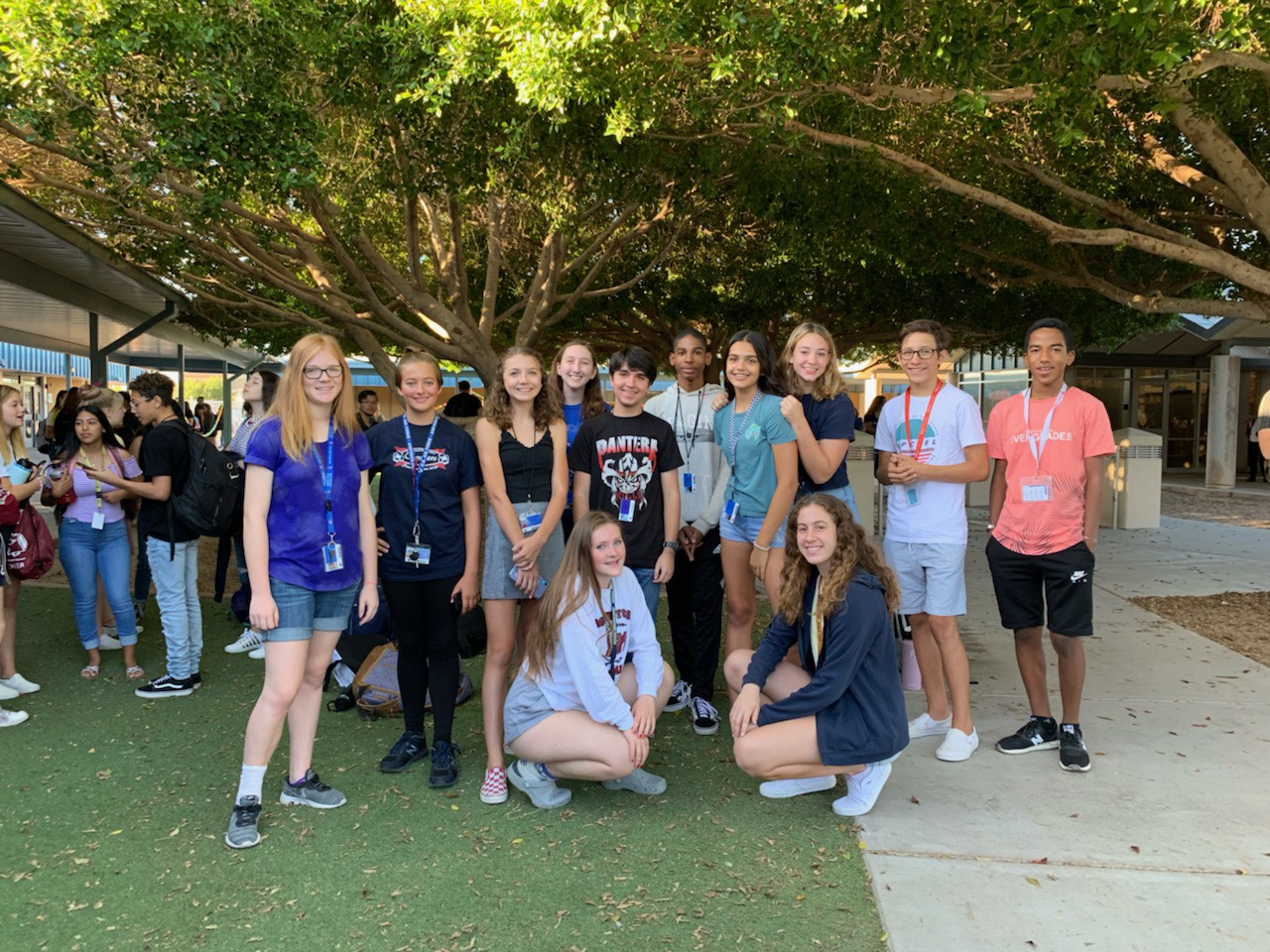 Members of McClintock High School Freshman Student Council stand on Senior Lawn.