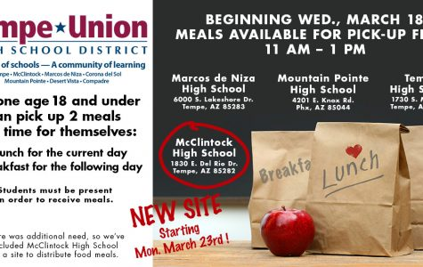 Meals available at McClintock starting Monday