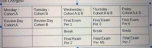 Final Exam schedule released