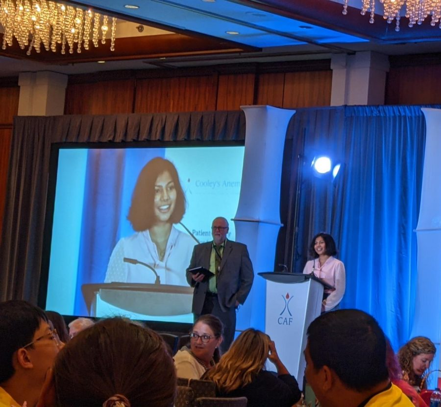 Peggy Payne Academy freshman Eashani Ghosh presents at the 2021 Colleys Anemia Foundation (CAF) Patient-Family Conference in New Jersey.