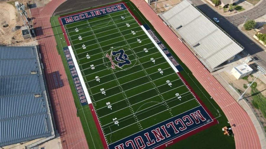 McClintock High School debuts a new turf football field at Jim Lyons Stadium.